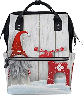 Laptop Backpack, Christmas Gnome Wooden Winter Snowflake Diaper Bag Backpack Travel Backpack for Women and Men