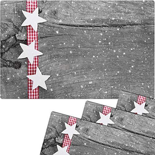 matches21 Tischsets Weihnachten Platzsets MOTIV weiße Sterne & Holzbrett 4 Stk. Kunststoff abwaschbar je 43,5x28,5 cm