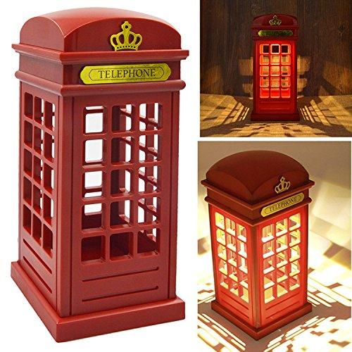 Cabina di telefono di Londra Vintage progettato USB ricarica luce notturna LED lampada Touch Sensor tavolo scrivania per camera da letto studenti dormitorio illuminazione Home Bar decorazione