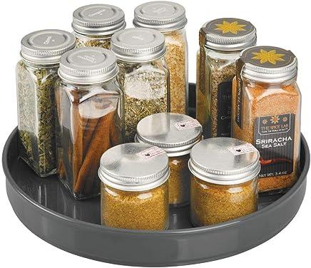 mDesign Lazy Susan plateau tournant en plastique pour épices, aliments, etc. – accessoire de rangement pour placard, armoire, réfrigérateur, table de cuisine – carrousel cuisine – gris anthracite