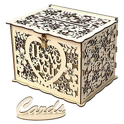 Seawang DIY houten bruiloftskaartpaal doos met slot en kaartteken, DIY vintage doos bruiloftscadeau doos voor verjaardagsfeestjes bruiloftsrecepties JM01321