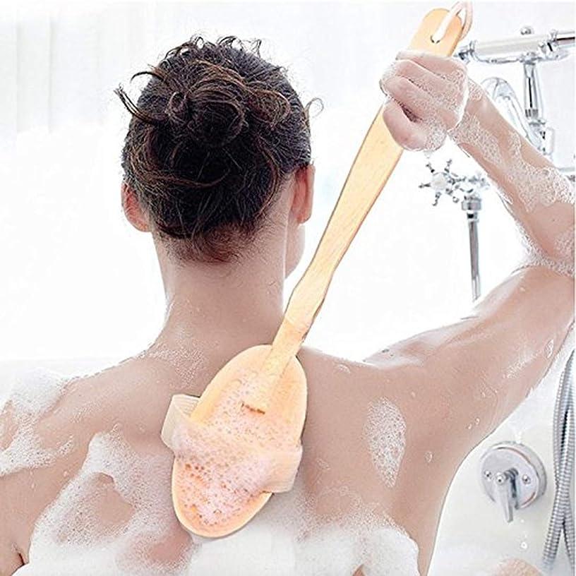 謙虚な汗ノートicey 木製 長柄 入浴ブラシ お風呂の神器 ブラシ 入浴ブラシ ブタのたらいブラシ 軟毛 背中をこす 背中長柄ボディブラシ高級木製豚毛入浴ブラシ美肌効果むくみ改善