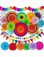 Juego de decoración de fiesta mexicana, accesorios para fiestas, abanicos de papel colgantes multicolor para Cinco de Mayo, fiesta de cumpleaños, decoración de bodas