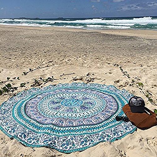 QHGstore Redondo Patrón Totem Beach Mat Toalla Yoga Tippet gasa Mantel Azul Verde Totem 150cm