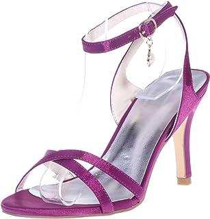 Vimedea Womens Ankle Strap Heeled Sandals Wedding Bride Open Toe Satin 9920-02