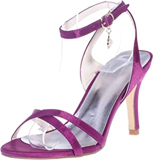 Vimedea Womens Ankle Strap Heeled Sandals Wedding Bride Open Toe Satin 9920-02
