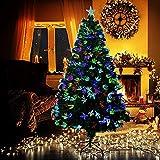 WEIZI Árbol de Navidad de Fibra óptica con Luces LED Multicolores Soporte Plegable Fuegos Artificiales Pino Árbol de Navidad Decoración navideña Pre-Cama Árbol de Navidad Artificial-Verde 150cm 5