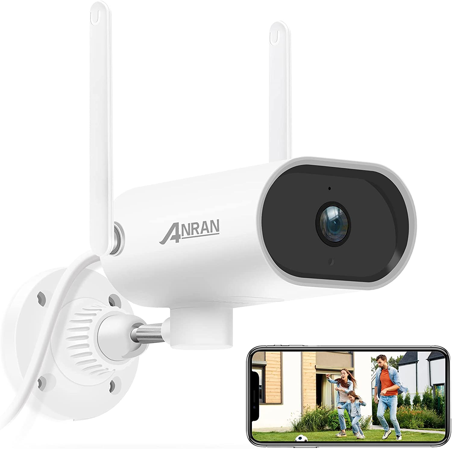 【Pan Rotating 180°】Outdoor Security Camera 1080P, ANRAN WiFi Home Surveillance Bullet Waterproof Camera with Two-Way Audio,Super Night Vision,Motion Detection,Remote Access,2.4Ghz WiFi,Use Wired Power
