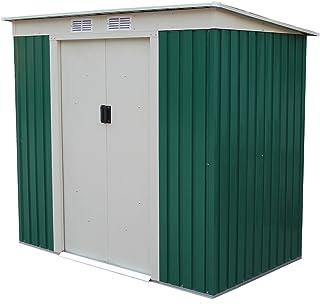 comprar comparacion GARDIUN KIS12909 - Caseta Metálica Buckingham 2.43 m² Exterior 121 x 201 x 176 cm Acero Galvanizado Verde