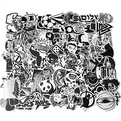 100 Pcs Cool Decals Vinyl Black White Stickers for Laptops Skateboards Helmet Cars Luggage Computer Phone Motorcycle Bicycle Kids Children Waterproof Sunlight-Proof DIY Ideals Assorted Laptop Stickers