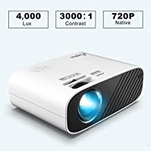 ELEPHAS Mini Movie Projector, with 4000 Lux Brightness and 50,000 Hours LED Lamp Life, Supports Full HD 1080P and 200