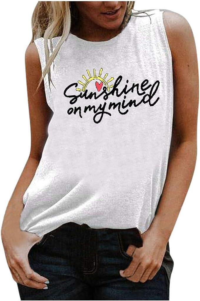 Women Tank Tops,Womens Crop Top Fashion American Flag Printed Shirts Sleeveless Blouse Loose Soft Sunflower Tee Shirts