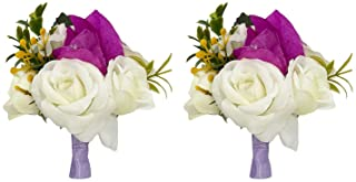 Florashop Fabric Flowers Wrist Corsage & Boutonniere Wedding Bridal Bridesmaid Wrist Corsage Wristband and Men's Groom Bri...