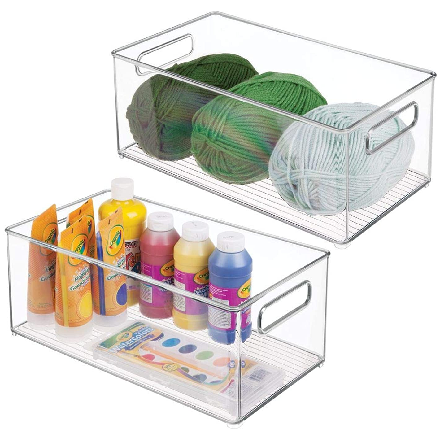 mDesign Large Plastic Storage Organizer Bin - Holds Crafting, Sewing, Art Supplies for Home, Classroom, Studio, Cabinet or Closet - Great for Kids Craft Rooms - 14.5