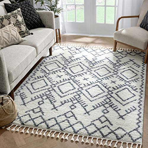 Well Woven Chessa Grey Moroccan Shag Diamond Trellis Pattern Area Rug 3x5 4x6 (3'11
