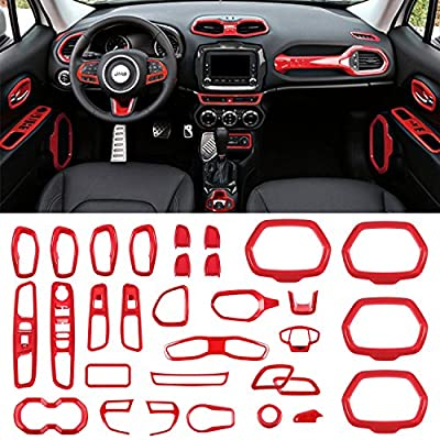 Danti Car Interior Accessories Decoration Cover Trim Air Conditioning Vent Decoration & Door Speaker & Water Cup Holder & Headlight Switch & Window Lift Button Covers for Jeep Renegade 2015-2020 (Red)