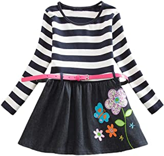 Toddler Baby Girl Long Sleeve Dot Belt Floral Flower Party Dress Outfits Clothes