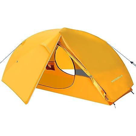 テント 1人用キャンプ ソロ テント アウトドア コンパクト収納 小型テントWhiteHills 二重層 通気性 超軽量 防水 防風 防災 紫外線防止 メッシュ通気 折りたたみ 設営簡単 三季テント 登山用 キャンプ用品 携帯袋 オレンジ色