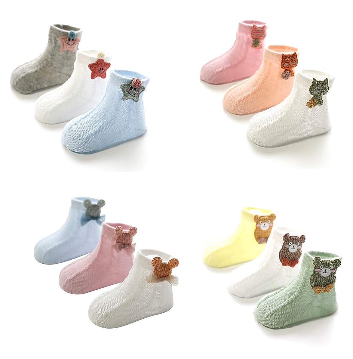 特権マットスロベニア綿の赤ちゃんの靴下通気性メッシュ夏の靴下クマと星の幼児幼児かわいいソフト女の子12パック0-3年
