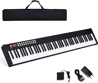 COSTWAY Pianoforte Digitale 88 Tasti, Tastiera Elettrica con Pedale di Risonanza, Funzione MIDI e Bluetooth, Ottimo per Pr...
