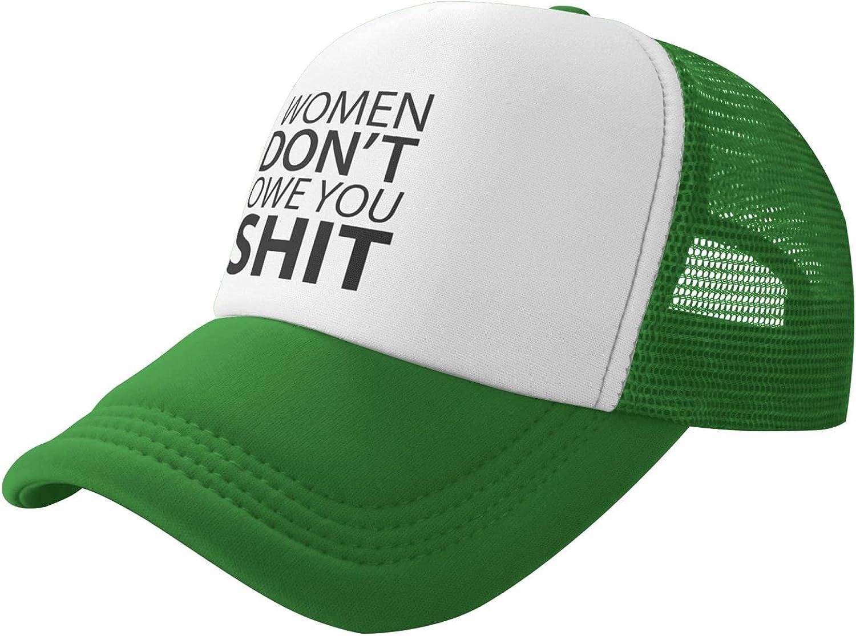 Nieah Women Don't Owe You Shit Trucker Hat Summer Mesh Cap with Adjustable Snapback Strap