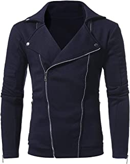 Mens Autumn Winter Casual Long Sleeve Solid Zipper Turn-Down Collar Jacket Tops