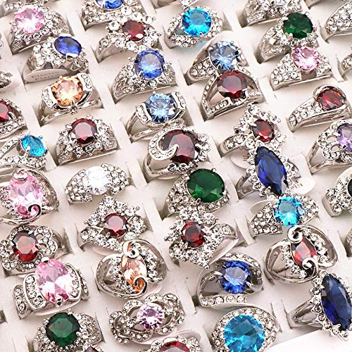 XKMY Anillo dedo 20 unids/lote mezcla estilo aleatorio rhinestone aleación anillos mujeres fiesta boda anillo