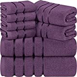 Utopia Towels - Juego de Toallas de Ciruela 8 - Pieza, Toallas de Rayas de Viscosa - 600 gsm Ring Spun Cotton - Toallas de Alta absorción (Paquete de 8)