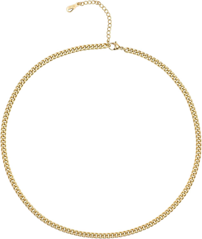 Aurelia Mae 18K Gold Thick Curb Chain Necklace Flat Link Chains