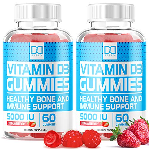 Vitamin D3 Gummies with Zinc Echinacea Supplements 5000 IU, Chewable Vitamin D for Adults Kids - VIT D Immune Booster, Bone Health, Joint Muscle Support -Tablet Powder Alternative Vegan (2 Pack)