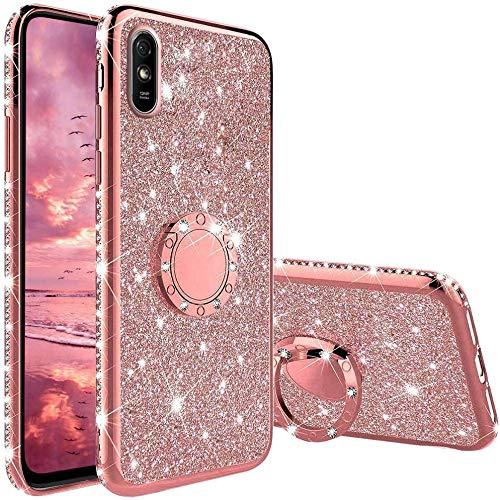 Hülle für Xiaomi Redmi 9A / 9AT, Glitzer Bling Glänzend Strass Diamant Handyhülle mit 360 Grad Ring Ständer Superdünn Stoßfest TPU Silikon Tasche Schutzhülle - Rosé Gold