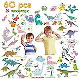 VCOSTORE Tatuajes temporales de dinosaurios para niños, 60 estilos pegatina de dinosaurio impermeable no tóxica (10 hojas)