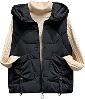 Ladies Vest Outdoor Vest Quilted Vest Hooded Vest Winter Sleeveless Jacket with Hood Padded Tank Tops Sport Vest