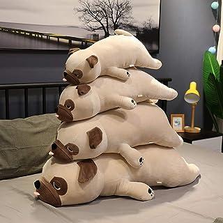 子犬ぬいぐるみ かわいい ブルドッグ 動物抱き枕 だるい顔 犬 ネムネム 柴犬 ふわふわ お誕生日 人形 萌え萌え 添い寝クッション 安眠グッズ 店飾り プレゼント用 キャメル 55cm