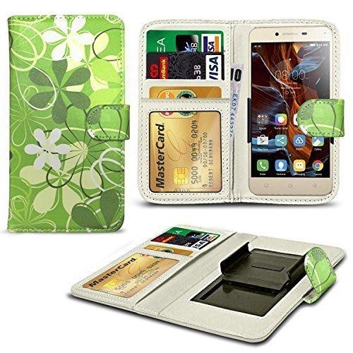 N4U ONLINE® Verschiedene Muster Clip Serie Kunstleder Brieftasche Hülle für Gionee Ctrl V5 - grün Blumen