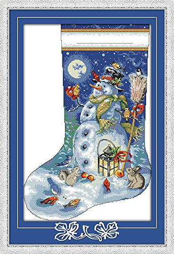 Cross Stitch Kits, Christmas Stocking Snowman Awesocrafts Easy Patterns Cross Stitching Embroidery Kit Supplies Christmas Gifts, Stamped or Counted (Christmas Stocking 3, Stamped)