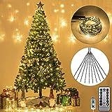 Luces de Arbol de Navidad, Luces Navidad Exterior, Guirnalda Luces 2m 30 guirnaldas 600 LED Cadena de Luces 8 Modos Luces de Navidad con Control Remoto Decoración Para Casa Boda Fiesta, Blanco Cálido