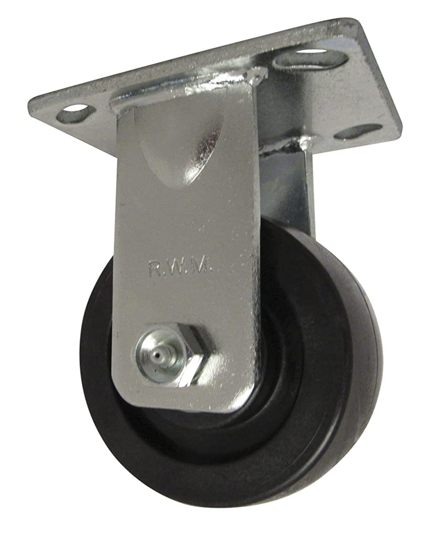 RWM Casters 46 Series Plate Caster, Rigid, High-Temperature Nylon Wheel, Roller Bearing, 800 lbs Capacity, 4