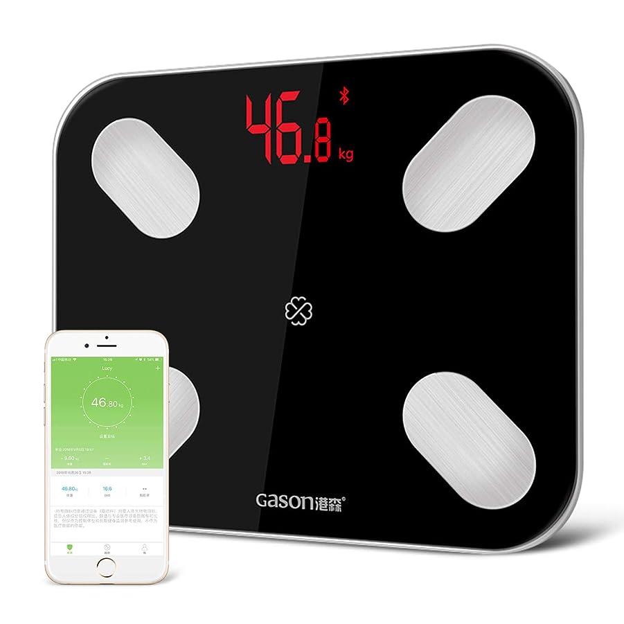 旅客逆にカリキュラムGASON 体重?体組成計 Bluetooth 体重計【14種類データ測定可能】 体脂肪計 スマートスケール 体脂肪/体脂肪率/骨格筋/筋肉量/推定骨量/体脂水分/BMIなどをスマホで同期分析 iPhone/Androidアプリで健康管理 肥満の予防 日本語対応APP ブラック