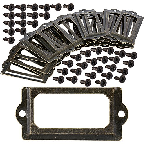 30 Stück Etikettenrahmen Label Rahmen Label Halter Etikettenhalter Schrankrahmen Kartenhalter Vintage Metall Bronze für Namensschilder Apothekerschrank Schublade Schrank oder Aktenschrank (70*33mm)