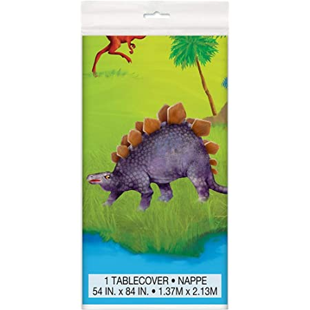 Unique Party 58313 - Tovaglia di Plastica - 2,13 m x 1,37 m - Festa a Tema Dinosauri