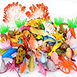 Pawliss Ocean Sea Animals 52 Pcs, Under The Sea Life Figure Bath Toys for Kids, Plastic Marine Creatures Favors for Education