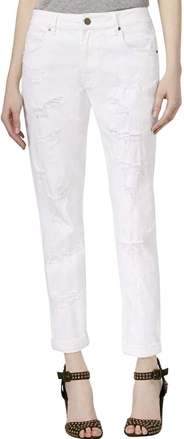 Rachel Roy Womens Destroyed MidRise Girlfriend Jeans White 29