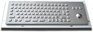 Mini Size Metal Keyboard with 25mm Optical trackball - 300x103.5mm - USB - US Layout -F1-F12 Keys - for Kiosks and Industrial terminals
