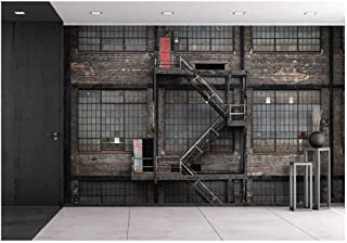 wall26 - Stairs and Old Factory Building - Removable Wall Mural   Self-Adhesive Large Wallpaper - 66x96 inches