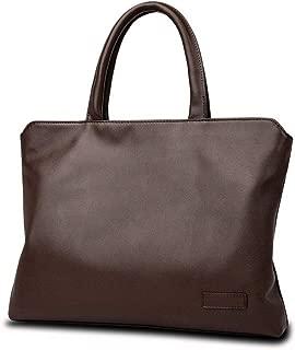 Zyyqt Men's Business Bag, Leather Laptop Case Handbag Men's Casual Shoulder Bag Messenger Bag