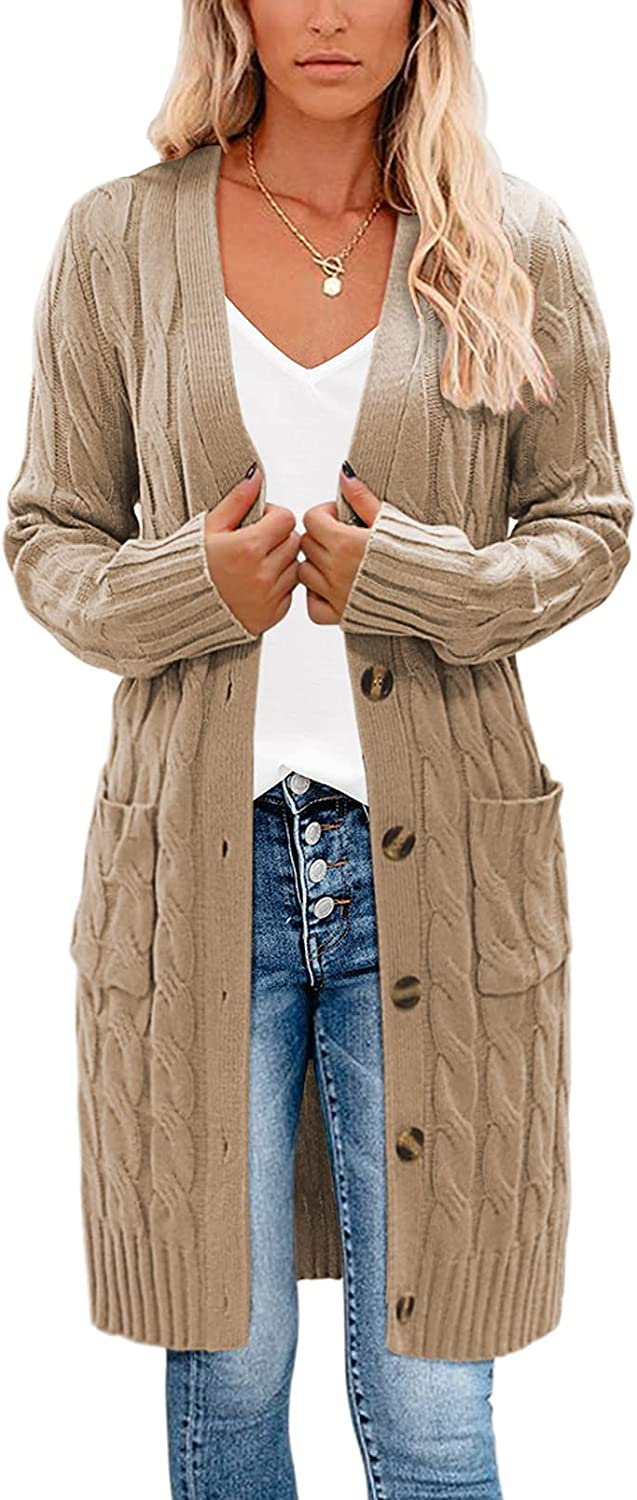 YUOIOYU Cable Knit Open Front Cardigan Sweaters Button Down Long Sleeve Outwear with Pockets