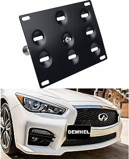 DEWHEL JDM Front Bumper Tow Hook License Plate Mount Bracket Holder Tow Hole Adapter Bolt On for 14-16 Infiniti Q50 Sedan