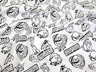 CAMELOT Fabrics Angry Birds Star Wars Outlines Quilting Fabric White - per Fat Quarter