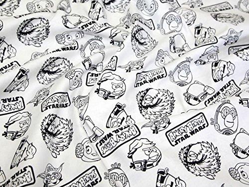 Camelot Stoffe Angry Birds Star Wars Umrisse Quilting Stoff, Meterware, Weiß + frei Minerva Crafts Craft Guide